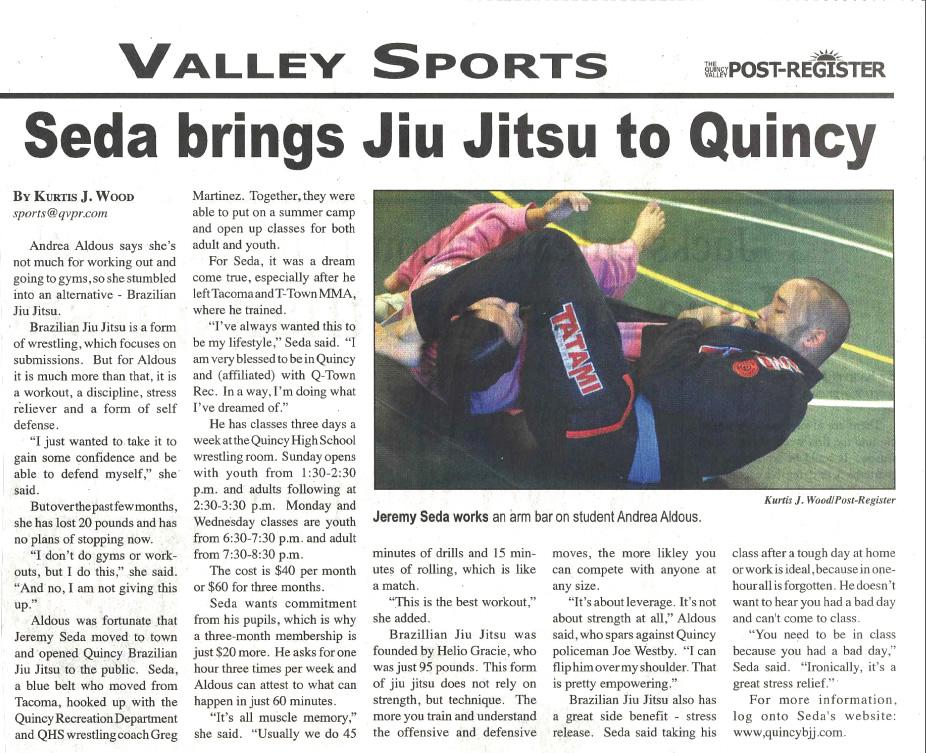 08-23-2012 - Quincy Post Register Article - Seda Brings Jiu Jitsu to Quincy