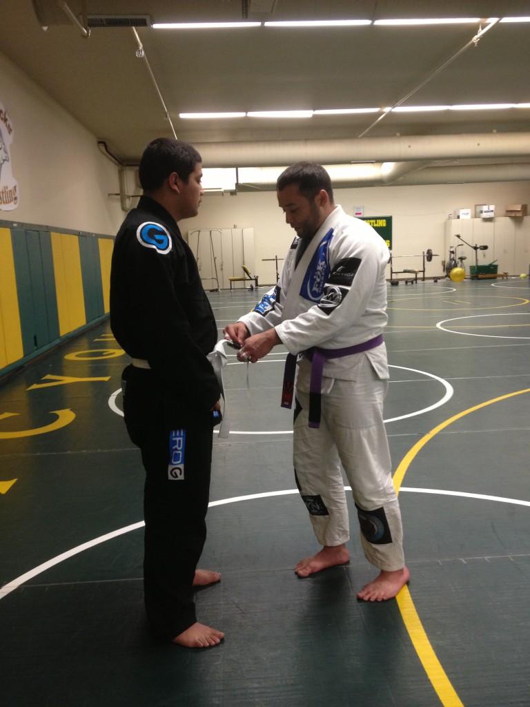 Sebastian Ortiz getting his first stripe
