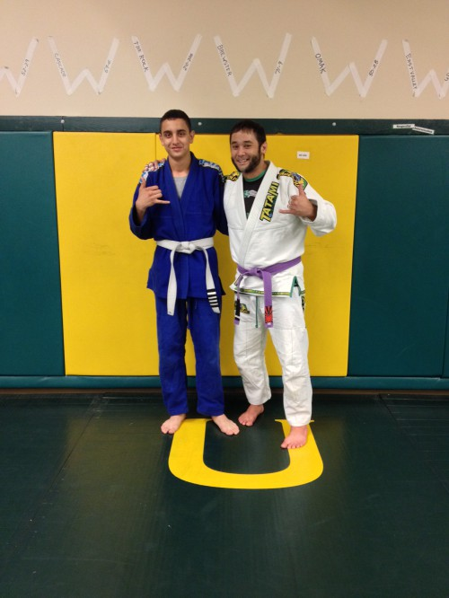 Guadalupe receiving his 4th stripe in Brazilian Jiu-Jitsu from Coach Pipes (Jeremy Seda) of Quincy BJJ