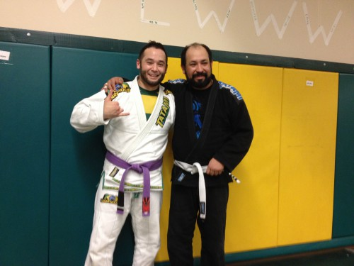 Lolo Ortiz getting his 3rd Stripe from Quincy Brazilian Jiu-Jitsu