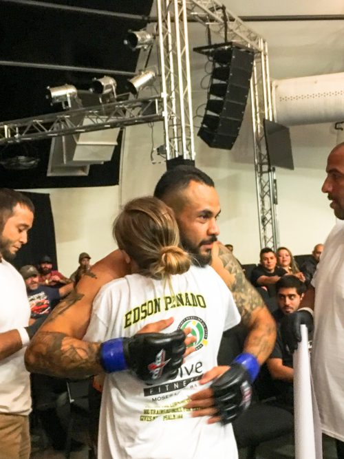 Edson Penado Hugging Coach Christan Seda Before Stepping Into the Cage for His First Pro MMA Fight