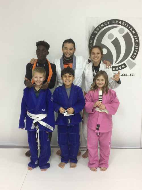 Congratulations to Mykenzi, Jaselyn, Jackson, Alex and Alexis on earning another stripe from Quincy Brazilian Jiu-Jitsu
