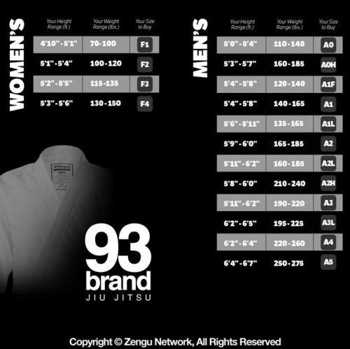 93 Brand Gi Size Chart