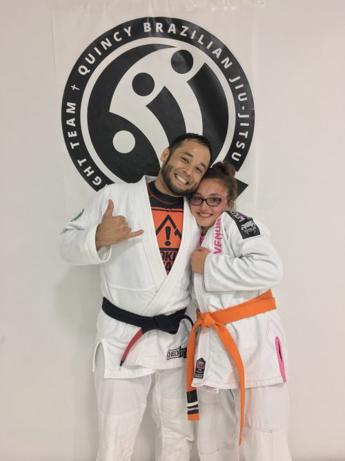 Congratulations to Tejah on earning her 2nd Stripe on her Orange Belt From Quincy Brazilian Jiu-Jitsu